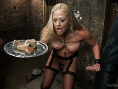 Sexy blonde slave needs to surrender her pussy in order to become a true slut