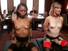 Two slave sluts are offering their lovely fuck holes in order to serve the house