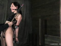 Gagged beauty is moaning wildly as she receives a tormenting whipping session