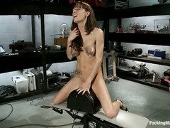 To pleasure her wild cunt, brunette is eager to try out some mean fucking machines