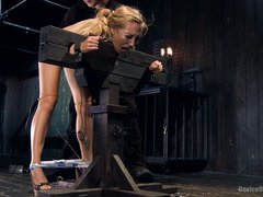 Non-stop grueling punishment for pretty screaming blonde slave