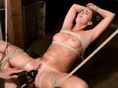 Hogtied beauty loves to get her naughty pussy pleasured until full of moist mess