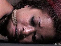 Punk ebony is on cloud nine during her grueling rope bondage punishment