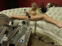 Hot blonde is sweating with ecstasy from playing with the fucking machines