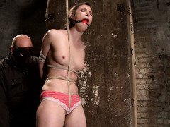 Hearing gagged and bounded slave screaming with pleasure pleases horny master