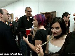 Stupid whore is punished in an art gallery for not knowing how to appreciate art works