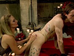 Excruciating sounding ritual for lusty stud as he bows to mistress demanding wants