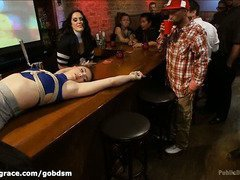 Hardcore sex punishment for a naughty slave slut during a bar's happy hour