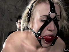 Gagged and bounded blonde beauty feels lucky to have master as her tormentor