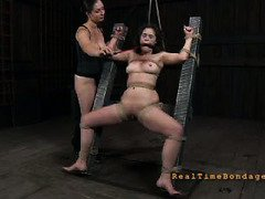 Horny members give bounded and gagged sweetheart a painful caning punishment