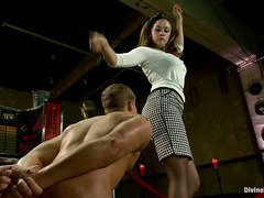 Demanding mistress wants to beat stud's ego out in order to make him submit