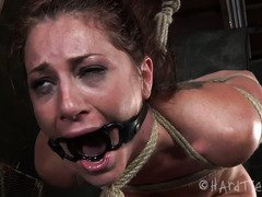 Sweet darling receives double punishment for her fuck holes while in a bonded state