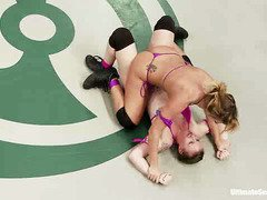 Tough wrestling between two smoking hot babes teams for the ultimate domination