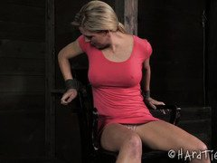 Sweet blonde enjoys the emotional suffering from her tedious bondage experience