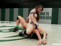 The winner from the hot wrestling match gets to punish her losing opponent