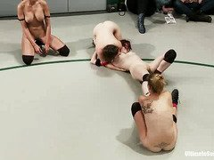 Lovely fighter babes exposed their hot beavers and perky tits during their match