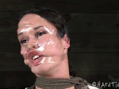 Disfiguring and humiliating pretty brat beauty's lovely face with cellophane tape