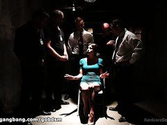 Defiant beauty is given a rough gangbang punishment for refusing to cooperate