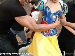 Pretty Snow White is awaken from her sleep and experiences hardcore gangbang