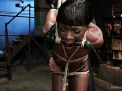 Stunning choco beauty endures harsh and stringent punishment for her lovely holes