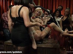 Blindfolded, gagged and bounded blonde is fucked for the enjoyment of the crowd