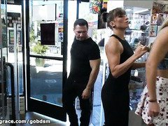 Demure babe is brought to a local store for some hardcore public fucking
