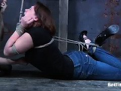 Watching bounded babe suffering pain constantly delights wicked mistress