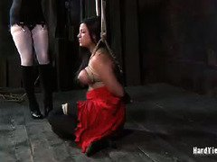 Big boobs darling is screaming with pain pleasures from mistress kinky punishment