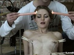 Brutal and uncouth body punishment for captivating slave beauty