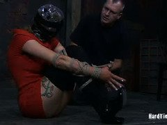 Watching hot blonde grasping for air during her bondage session pleases old master