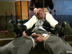 Tough stud in business suit becomes mistress butt slut as he submits to her demands