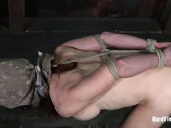 Lovely bounded sweetheart accepts old master's kinky punishment with pleasure