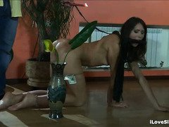 Demure slave gets her smoking hot body spanked tenaciously by horny master