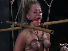 Blonde slave needs to surrender her beautiful perky tits for mistress lusty punishment