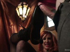 Gorgeous bearded mistress from the divine freak circus tortures a lusty stud