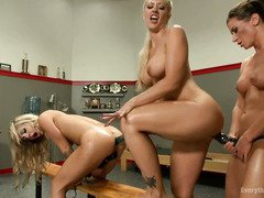 Horny lesbian trainer commands lusty anal stretching for her two blonde babes