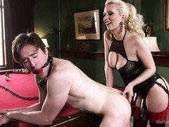 Sleeping stud is rudely awaken by mistress to serve her demanding needs