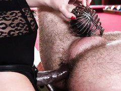 Sleeping stud is rudely awaken by mistress to serve her demanding needs
