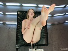 Stunning blonde is totally sated and sore from playing with the fucking machines