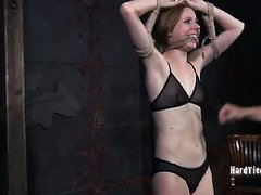 Receiving rope bondage punishment and suffering from power play thrills naughty babe