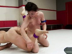 The show of total power and control during babes' hardcore wrestling match
