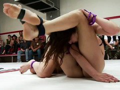 Stimulating and raunchy pussy fingering during rough wrestling with hot babes