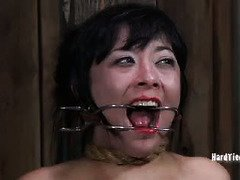 Lovely Asian must suffers under old master's wicked and painful bdsm torture