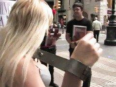Gorgeous blonde slut loves the public humiliation that she experiences