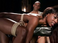 Pretty choco darling is given rough bondage sex as she submits to her white master