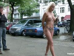 Gorgeous blonde is brought to the streets to test out certain luxury sex toys