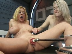 Lesbian babes could not stop having orgasms from playing with fucking machines