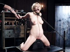 Sweet blonde slave rather gets orgasms than getting her pussy punished