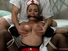 Stunning blonde nurse receives rough fucking punishment from her mental patient