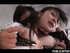 Innocent jap school doll pussy teased up her skirt in the bus